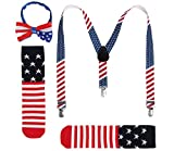 JustinCostume Kids or Boys Bow Tie and Suspenders Set, Patriotic