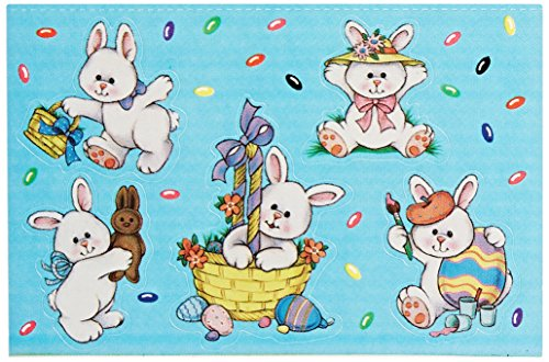 Beistle 44003 4-Pack Easter Bunny Stickers Sheet, 4-3/4 by 7-1/2-Inch Sheet