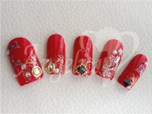 アンジェリカ 情熱の赤バタフライネイル 両手セット