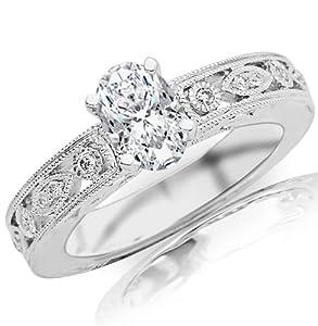 0.69 Carat Oval Cut / Shape 14K White Gold Antique / Vintage Bezel Set Designer Diamond Engagement Ring ( G-H Color , SI1 Clarity )