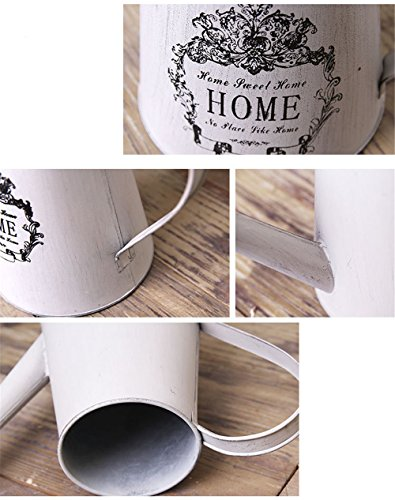 VANCORE Vintage White Shabby Chic Mini Metal Pitcher Flower Vase 4