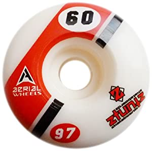 Buy Aerial Wheels ZT Comp Park Skateboard Wheels (Set of 4) for Street, Vert and Pool Deck, 60mm 97 Durometer, White Black... by Aerial Wheels