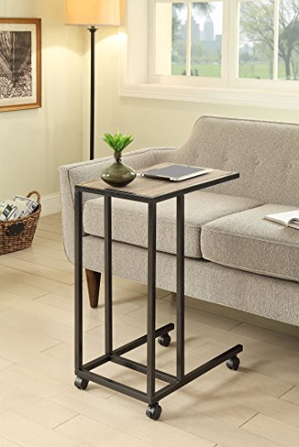 Weathered Oak Finish Metal Chair Side End Table with 4 Wheels (Table Wheels compare prices)