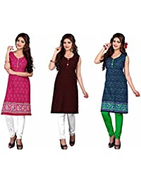 Nakoda Women's Cotton Multicolor Self Print Unstitched Kurti(Pack Of 3)