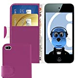 ITALKonline PURPLE Executive Wallet Case Cover Skin Cover with Credit / Business Card Holder For Apple iPod Touch 4 4G (4th Generation) 8GB, 32GB, 64GB