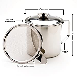 Stainless Steel Grease Catcher with Bacon Grease Strainer. Perfect As a Cooking Grease Container and Pan Grease Strainer - Capture the Magic of Traditional Down Home Cooking