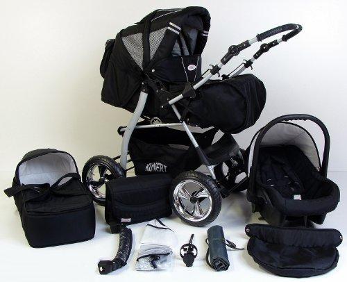 3-in-1-Kombikinderwagen-Komplettset-VIP-inkl-Kinderwagen-Babyschale-und-Sportwagen-Aufsatz-4-Grau-Hartgummi-Bereifung-33-Schwarz