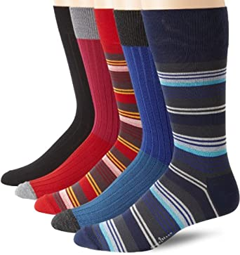 Cole Haan Men's Rib Stripe 5 Pack Sock, Cobalt/Red, One Size