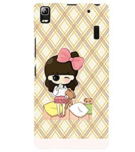 Printvisa Premium Back Cover Animated Girl Holding Teddies Design For Lenovo A7000::Lenovo K3 Note