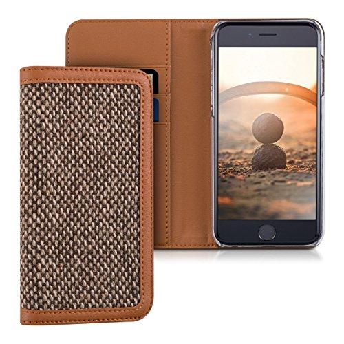 kalibri-Wallet-Case-Hlle-Donna-fr-Apple-iPhone-6-6S-Cover-Flip-Tweed-Kunstleder-Tasche-mit-Kartenfach-in-Braun