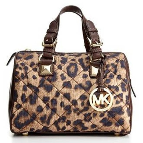 Michael Kors Grayson Small Quilted Nylon Satchel, Leopard
