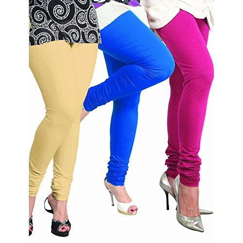 Lux Women Cotton Leggings -T.Blue, Romantic Rani, Beige. -Free Size (Set Of Three) L 05_14_18