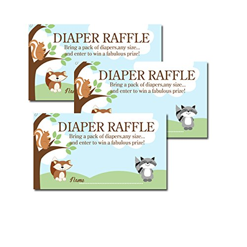 Enchanted Forest Woodland Red Fox, Raccoon, Squirrel Baby Shower Diaper Raffle Tickets 20-pack