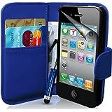 Supergets Hülle für Apple iPhone 4s und 4 Buch-Stil Imitat Ledertasche in Blau Eingabestift, Displayschutzfolie, Reinigungstuch