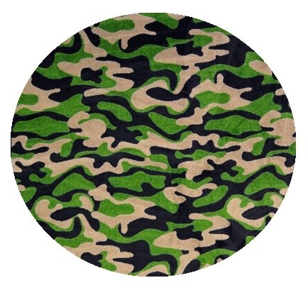 Funky Camo Dark Army Green Multi - 3' Round Custom Stainmaster Premium Nylon Carpet Area Rug ~ Bound Finished Edges