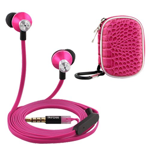 Ikross In-Ear 3.5Mm Noise-Isolation Stereo Earbuds With Microphone (Hot Pink / Black) + Hot Pink Accessories Carrying Case For Samsung Galaxy Tabpro 12.2/ 10.1/ 8.4 Tablet Cellphone Smartphone And Mp3 Player