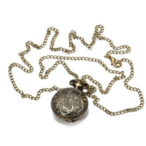 Orologio da Tasca Bronzeo al Quarzo Ragnatela Traforato Numeri Arabi con Collana