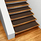 Set of 15 Skid-resistant Carpet Stair Treads - Chocolate Brown - 8 In. X 30 In. - Several Other Sizes to Choose From