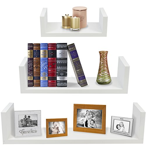 Sorbus Floating Shelves-U Shaped Hanging Wall Shelves for Decoration-Perfect for Picture Frames, Collectibles, Decorative items ,Trophy Display, and Much More (Set of 3, White)