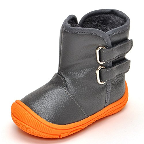 Enteer Infant Baby Boys' Soft Rubber Sole Anti-Slip Warm Winter Prewalker Leather Toddler Boots (7-12 Months, Gray)