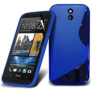 (Blue) HTC Desire 610 Elegant S line Hydro Wave Gel Skin Case Cover & Screen Protector By *Aventus*