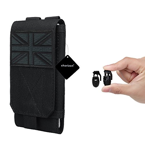 xhorizon(TM)XH8 Universal Army Phone Pouch Accessory Bag Case For iPhone 6/6s 6plus Samsung Galaxy S6 S5 S4 HTC Sony Nokia Nexus Elephone Mobile Phone Belt Pouch With UK Flag Tactical Velcro