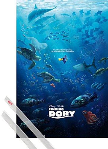 Poster + Sospensione : Alla Ricerca Di Dory Poster Stampa (91x61 cm) Unforgettable Journey e Coppia di barre porta poster trasparente 1art1®