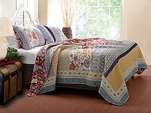 Greenland Home 3-Piece Geneva Quilt Set, Full/Queen, Multi