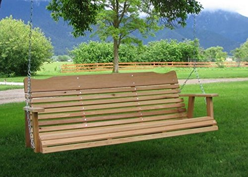 5 Natural Cedar Porch Swing, Amish Crafted - Includes Chain & Springs