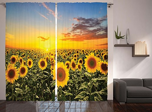 Ambesonne Mediterranean Farmhouse Country for Home Decor Collection, Sunflowers Field in Spring Sunset Habitat Scenery, Living Room Bedroom Curtain 2 Panels Set, 108 X 84 Inches, Green Yellow Blue