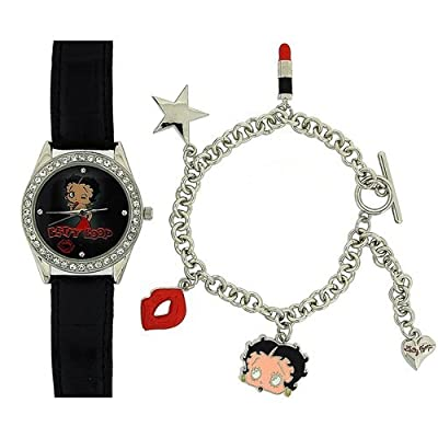 Betty Boop Ladies - Girls Analogue Watch & 5 Hanging Charm Bracelet Gift Set