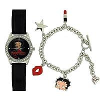 Betty Boop Ladies - Girls Analogue Watch & 5 Hanging Charm Bracelet Gift Set