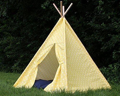 Yellow Polka Dot Kids Teepee Play Tent, Play Tee Pee, Heavy Fabric, Playhouse