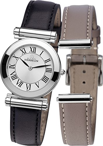 Michel Herbelin Antares Interchangeable Women's Quartz Watch with Silver Dial Analogue Display and Black Leather Strap COF17443/01NT