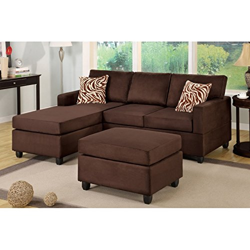 Boss Furniture F7661 Chocolate Microfiber Upholstered Sectional Sofa With Chaise And Ottoman