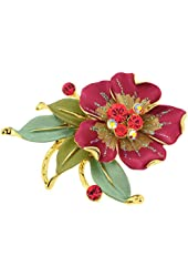Red Flower Green Leaf Pin Swarovski Crystal Brooch Pin