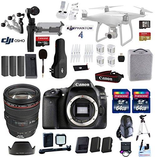 Professional Photographer / Videographer Wedding Kit – Includes DJI Phantom 4 + DJI OSMO 4K Starter Kit + Canon 80D DSLR + Canon 24-105mm L USM (Glass Element) Lens