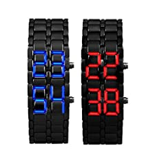 buy Men'S Watch Toopoot 2X Lava Style Iron Samurai Red And Blue Led Light Watch