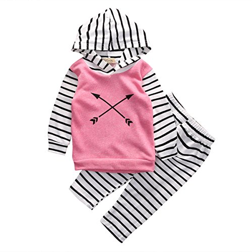 Baby Girl 2pcs Suit Outfit Arrow Pattern Pink Hoodies+Striped Long Pants Set (6-12months, Pink)
