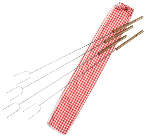 Buy Bargain Rome's #3400-S Set Of 4 Hot Dog Roasting Forks with Ginham Print Cotton Storage Bag, 34 ...