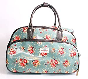 Green Blossom Floral Wheeled Travel Trolley Bag/Wheeled Holdall/Overnight bag/Gym Bag/ Hospital Bag