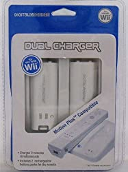 Dual Charger Motion Plus Compatible For Two Remotes For Wii With Two Battery Packs [Nintendo Wii]