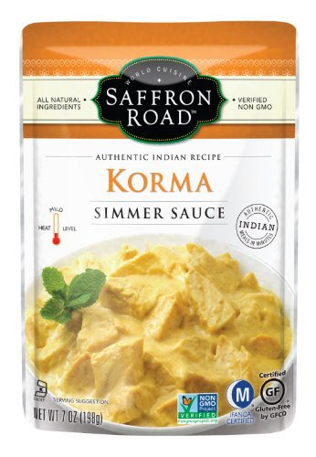 Saffron Road – Korma Simmer Sauce – Authentic Indian Receipt (All Natural & Gluten Free), Buy EIGHT Pouches and SAVE per Unit, Each Pouch is 7 oz (Pack of 8) image