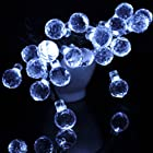 M&T Tech White Outdoor Party String Lights Solar Powered for Garden Patio Christmas Tree Wedding(20 LED Round Ball)