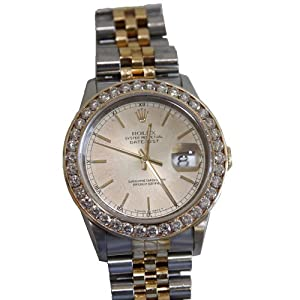 Original Rolex Oyster Perpetual 18k Vintage Genuine Man Watch 3.50 Carat Diamonds