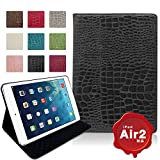 MS factory iPad Air 2 クロコダイル 手帳型 PU レザー ケース カバー スタンド Air2 PUレザー カバーケース 全9色 ブラック 黒 IPDA2-CROCO-BK