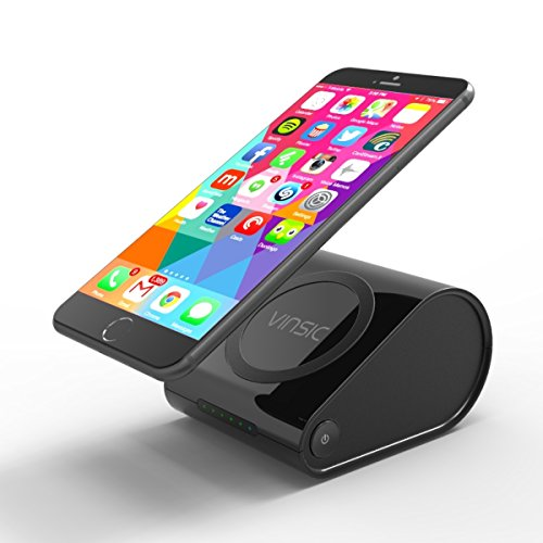 Wireless Charger, [2-in-1] Vinsic Qi Wireless Charger & 10400mAh External Battery Power Bank for Samsung, Nexus, SONY, Moto, Nexus, Nokia, MOTO, HTC and Other Qi-Enabled Phones and Tablets.