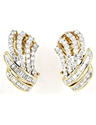 Atjewels 14k Yellow Gold Plated 925 Sterling Silver Round And Baguette White Zirconia Stud Earrings For Women's