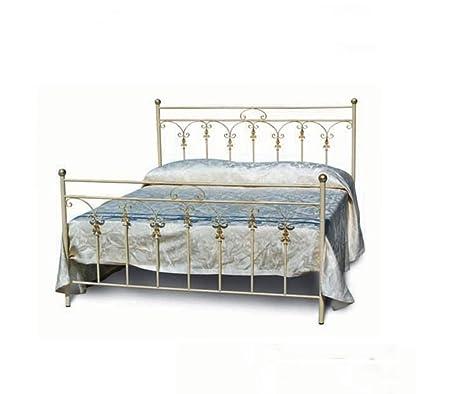 Bett in Metall, Größe: 170 x 201 Espalier Höhe 125. Struktur: Schlauch-Rund. Farbe: antike Anthrazitgrau, antik poliert Elfenbein, antike Kupfer.
