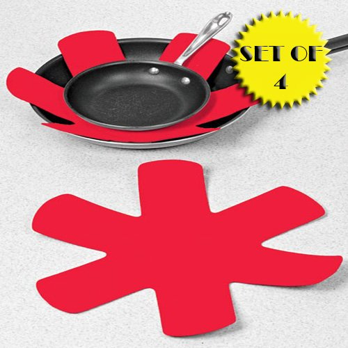 PADDED POT AND PAN PROTECTORS (SET OF 4 - RED)